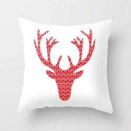 Red deer head Throw Pillow