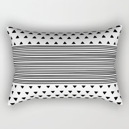 Stripes and Triangles Geometric Modern Black and White Rectangular Pillow