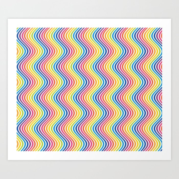 Rainbow Wavy Lines Abstract Art Art Print By Brucealmighty