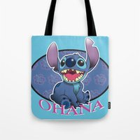 ohana Tote Bags featuring Ohana by Une Belle Pagaille