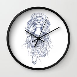 Sea Posse V - Queen, Navy Print Wall Clock