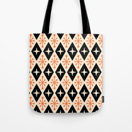 Mid Century Modern Atomic Triangle Pattern 922 Black and Orange Tote Bag