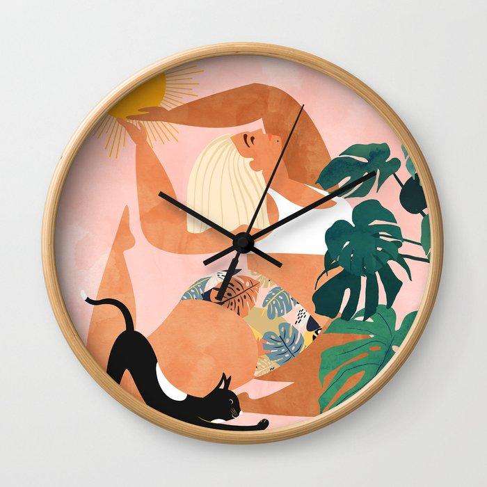 Tropical Yoga #illustration #tropical Wall Clock