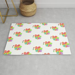 Floral Illustration Bloom Your LOVE quote kindness Watercolor Flowers pattern Rug