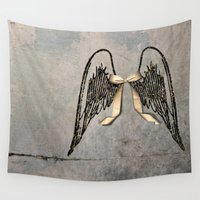 angel wings Wall Tapestries featuring Wings by Donna M Condida