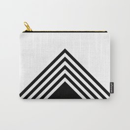 Color block black and white triangular stripes Carry-All Pouch