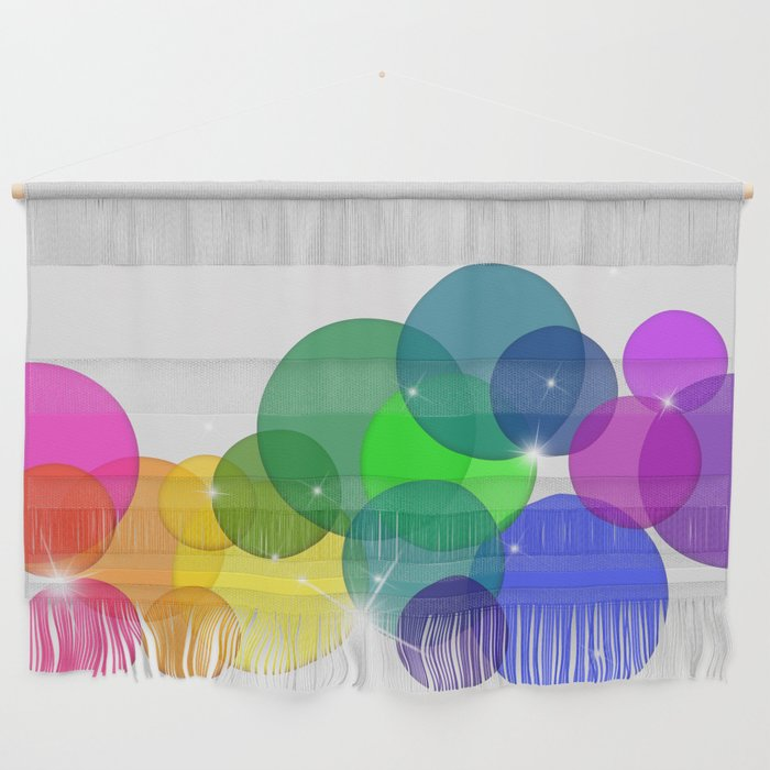 Translucent Rainbow Colored Circles with Sparkles - Multi Colored Wall Hanging