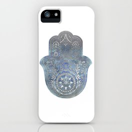 Silver Blues Hamsa Hand iPhone Case
