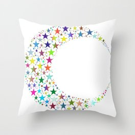 Colorful Cresent Moon Throw Pillow