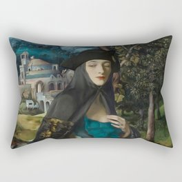 """""""Mystery woman in the forest among flowers"""" Rectangular Pillow"""