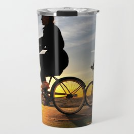 Cycling on sunset in Santa Monica, California, USA Travel Mug