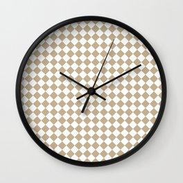 Small Diamonds - White and Khaki Brown Wall Clock