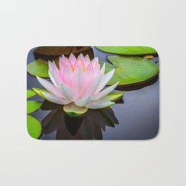 Pink Lotus & Green Lily Pads On A Jet Black Pond Bath Mat
