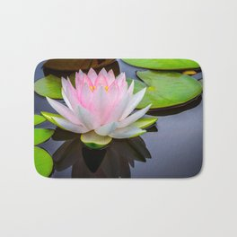 Pink Lotus & Green Lily Pads On A Jet Black Pond Bath Mat