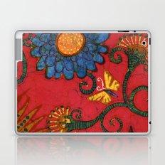 Batik butterflies and flowers on red Laptop & iPad Skin