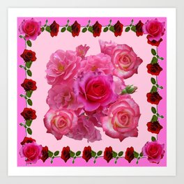 CONTEMPORARY  RED & PINK ROSES PINK PATTERNs Art Print