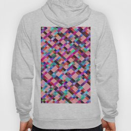 geometric pixel square pattern abstract background in pink purple blue yellow green Hoody