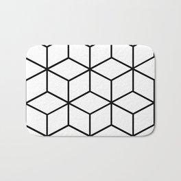 Black and White - Geometric Cube Design I Bath Mat