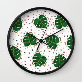 Monstera Leaves with Gold Pink and Green Geometric Confetti Wall Clock