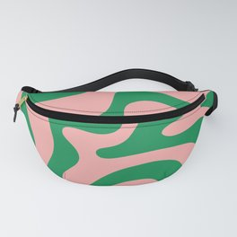 Retro Liquid Swirl Abstract Pattern Square in Bright Green and Blush Pink Fanny Pack
