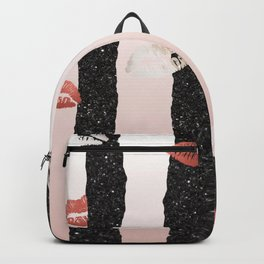 chic rose gold foil kisses with black glitter accents stripes Backpack