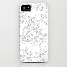 black and white line art flowers iPhone Case