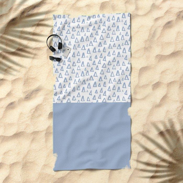 Triangles Light Blue Beach Towel