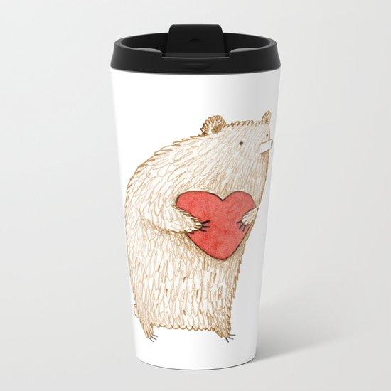 Bear with Heart Metal Travel Mug
