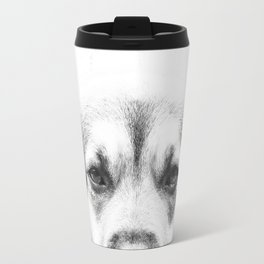 Dog portrait in black & white Travel Mug