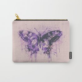 Artsy Butterfly Mixed Media Art  pastel pink and purple Carry-All Pouch
