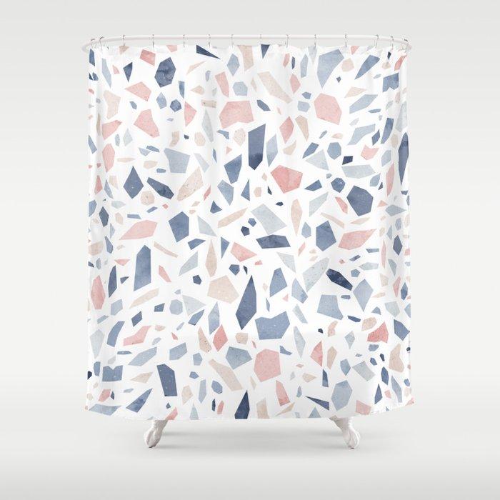 Terrazzo Vintage Pastel Blue Pink Shower Curtain