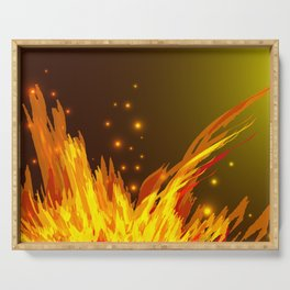 A bonfire with tongues of flame and sparks for the design of summer night ideas. For postcards and f Serving Tray