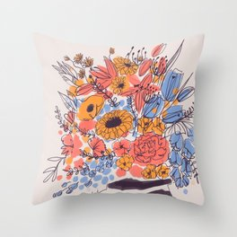February Florals Throw Pillow