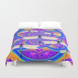Blue-Purple Floral Dragonflies Geometric Art Design Duvet Cover