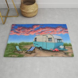 The Happy Camper At Night Rug