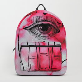 Hamsa Horus Eye Pink Red Marble Backpack