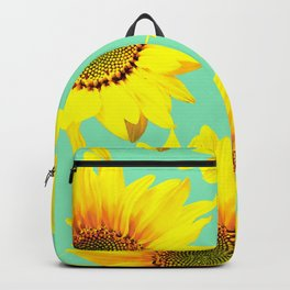 Sunflowers on a pastel green backgrond  Backpack