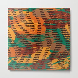 Abstract orange jade brown safari geometrical print Metal Print