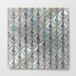 Treble Clef Abalone Shell pattern on mother of pearl Metal Print