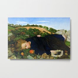 Robins of Modern Times, A girl and her dreams pastoral landscape by John Roddam Spencer Stanhope Metal Print