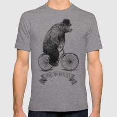 Bears on Bicycles (Lime) Mens Fitted Tee 2X-LARGE Tri-Grey