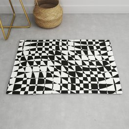 Black and White Abstract Geometric Rug