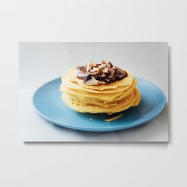 Waffles with chocolate cream and nuts on blue plate Metal Print