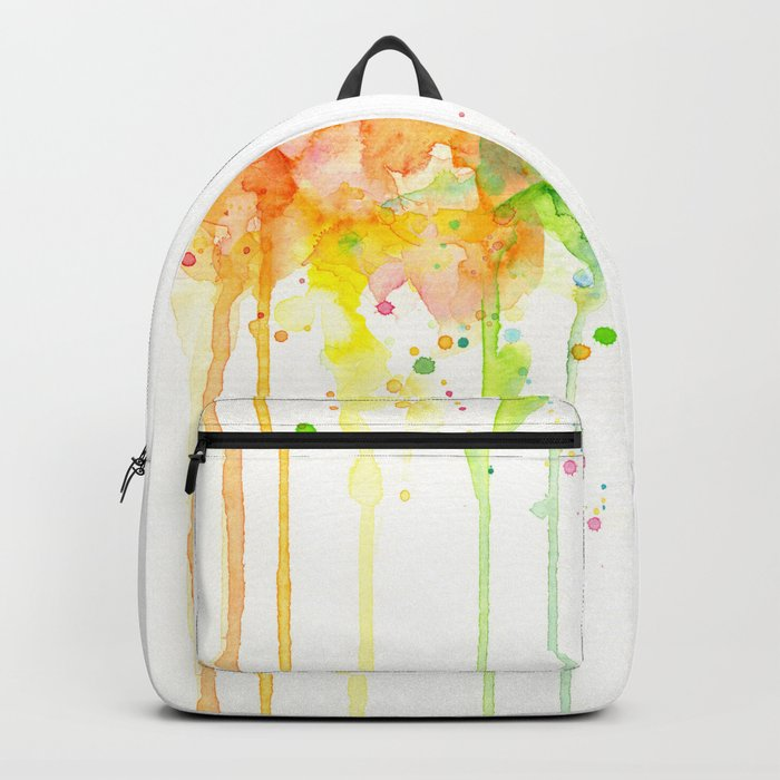 Watercolor Rainbow Splatters Abstract Texture Backpack