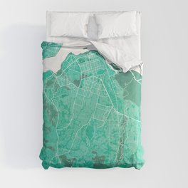 Kinshasa City Map of Congo - Watercolor Comforters