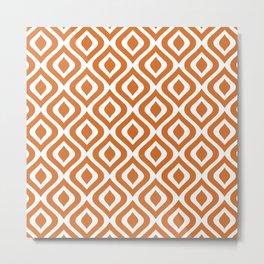 Mid Century Modern Diamond Ogee Pattern 142 Rust Orange Metal Print