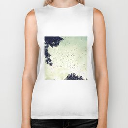 Flock of birds at sunset Biker Tank