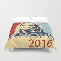 leslie knope Duvet Covers featuring KNOPE 2016 by studiomarshallarts