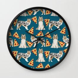 Sheltie shetland sheepdog pizza slices cheese pizzas dog breed pet friendly custom dogs Wall Clock