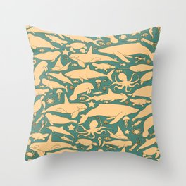 Minimalist, yellow and blue pattern of sea animals Throw Pillow